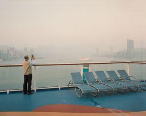 Passenger capturing Hong Kong harbour after arrival.