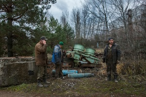 workers in search of radioactive scrap metals to be recycled. Chernobyl Exclusion Zone