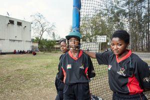 Dalitso, Dalida & Shahida take a break from batting practice. Malawian Under 19 Women's Cricket Team, Blantyre, Malawi, 2016.