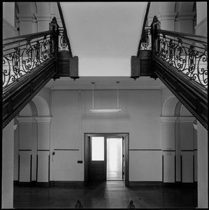 library door, staircase