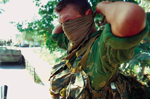 Russian soldier prepares to patrol the border