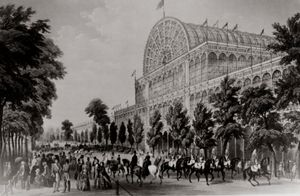 Crystal Palace, built to house London's Great Exhibition of 1851, lithograph