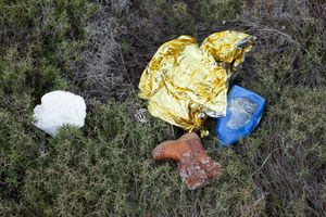 leftovers from arrived refugees at the coast of Lesbos