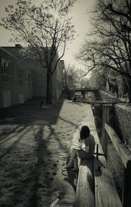 young lady near the river