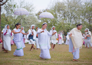 The Maibi priestesses of Manipur dance at the Lai Haraoba festival.