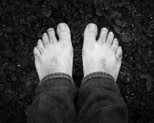 Bare feet on the ground