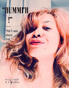 'Hummp!', Miss Pinup selfie satire referencing '50s pin-up art & advertising
