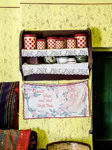 Shelf detail in Maria's canary yellow kitchen, Saschiz 2015