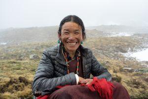 Karama Chojzoum from Karang takes a break from the caterpillar search. Upper Dolpo, Nepal, June 2017.