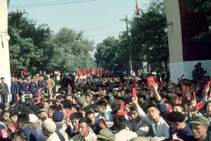 November 1, 1966. National Holiday. In a street adjacent to Tian'anmen Square, the demonstrators wait before marching. © Solange Brand