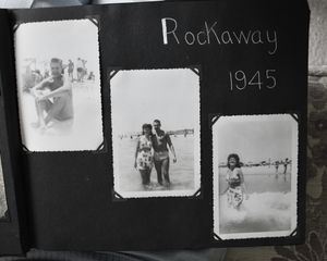 Close-up of photographs taken with Gramps at Rockaway Beach in Queens, New York in 1945. There are hand-written notes on the back of most photos with more information on who is in the photo and where it was taken.