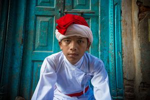 Young member of traditional music band, shortly before Jatra Festival kick off  in Durbar Square in Kathmandu,Nepal.