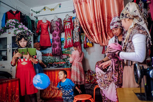 The young generation of Uighur women now are more independent and most of them open tailoring shop in old Kashgar, Xinjiang Uighur Autonomous Region, China.