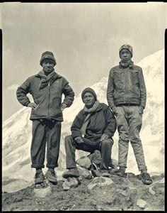 Everest porters at Gorak Shep. From left: Bim Badhur Tamang, Eka Badhu Rai, Kaji Sherpa.
