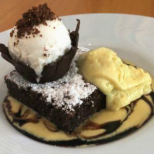 Brownie With Banana Cream and Ice Cream, Salsa Suarez Restaurant, Varadero