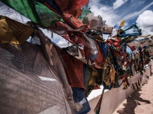 Buddhist flags hanging every where from big monasteries to remote villages, mountain tops and high passes. (Lamayuru monastery, Leh city)