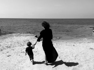 Punta Braccetto, Sicily (2016). Sara and Martino. Archetypes: the sea, the mother, the child.