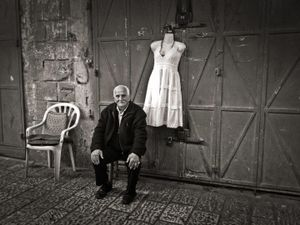 Man selling womens clothes in the old city, Jerusalem