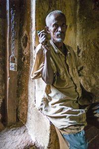 Doorkeeper, Geneta Mariam church, Geneta Mariam, Ethiopia