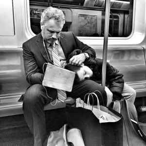 Exhausted NYC - Families (B&W) 9