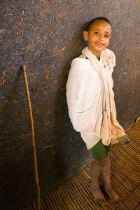 Child in Azwa Maryam church, Zege peninsula in Lake Tana, Ethiopia