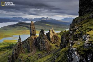 On Skye's Trotternish Peninsula, basalt pinnacles loom over the Sound of Raasay. Rising from the debris of an ancient landslide, they bear witness to the geologic upheavals that shaped these lands. From the October 125th anniversary issue of National Geographic magazine © Jim Richardson/National Geographic