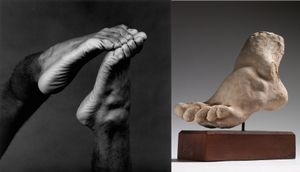 (left) Feet, 1982 © Robert Mapplethorpe Foundation. Used by permission. (right) Pied gauche © Paris, musee Rodin