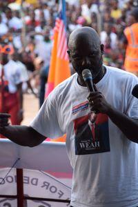 George Weah campaigning
