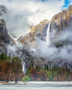 Yosemite Falls in a Clearing Winter Storm
