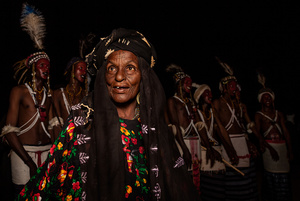 Under the direction of a female tribe elder, Wodaabe men are performing for the tribeswomen during the Gerewol Festival, Abalak, Niger