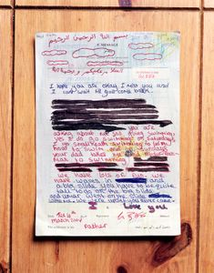 """Redacted Letter From Daughter at the Home of Former Detainee from """"If The Light Goes Out: Home from Guantanamo"""" © Edmund Clark"""