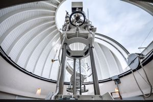 Inside the dome of the Solar Observatory Einsteintower in Potsdam, Germany.
