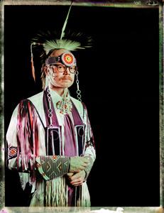 #16, Danish powwow dancer, Portrait taken at the local powwow convention, bleach Fuji Fp100c, negative scan, Copenhagen, Denmark 2015.
