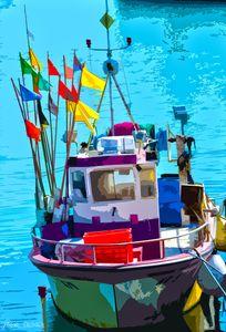 Port de l'Herbaudière - Bateau aux drapeaux - 2012