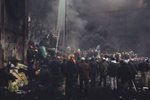 Protesters are burning tires, so police doesn't have a good view before the next assault. Kyiv, Jan. 25, 2014.