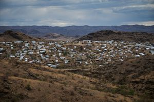 View on a squatter settlement in Katutura, the largest township outside Windhoek. Katutura is still growing every day, as a result of both, population growth and rural-urban migration. More than two-thirds of the rural migration to the cities of Namibia are estimated to go to Katutura. As a consequence, the unemployment rate in the township is extremely high.