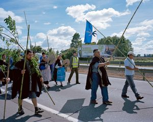 Protest on the Pan-American Highway