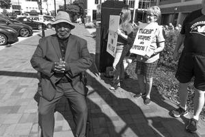 Jack Sits at an Anti-war Demonstration