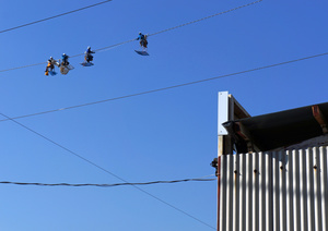 exercise on the sky-high rope