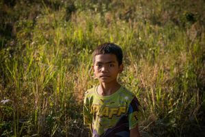 Young Hmong boy from Hoify village in Luang Prabang Province.Laos.