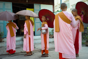 Begging nun in Mandalay