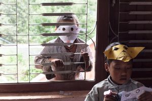Kids wearing masks