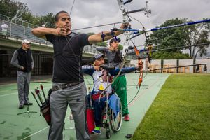 German Gomez, 49, practices arrowing with a few colleagues at the Belen Sports Complex, Medellin, April 2016.