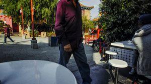 purple shirts, Chinatown, Los Angeles.