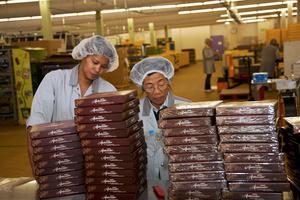 Ouvrières immigrés à la chocolaterie,  Broc; immigrant workers at the chocolate factory