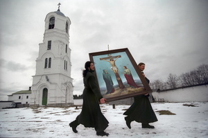 Monks bearing the icon