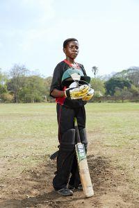 Tadala, batsman, Malawian Under 19 Women's Cricket Team, Blantyre, Malawi, 2016.