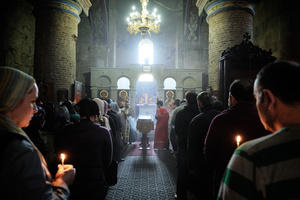 Attending a mass in Tbilisi.