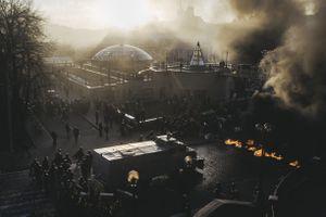Riot police storm Maidan after clashes on Shelkovichna street. Kiev, Feb. 18, 2014.