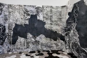 """Rock Room,"" Room Installation in Progress, Hand-cut Inkjet prints on Tyvek, Collage, Hand-cut Vinyl Tile, 2016."